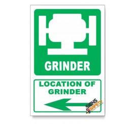 (IN1/D3) Grinder Sign, Arrow Left, Descriptive Safety Sign