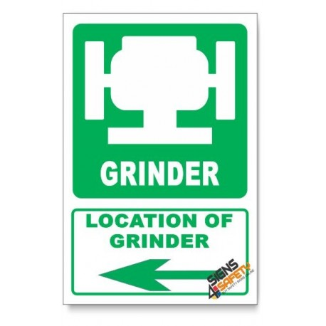 (IN1/D3) Grinder Sign, Arrow Left, Descriptive Safety Sign