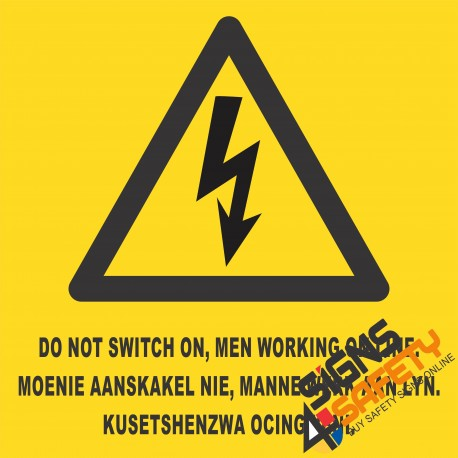 (E4) Electrical Shock Men Working Sign
