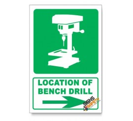 (IN2/D2) Bench Drill Sign, Arrow Right, Descriptive Safety Sign