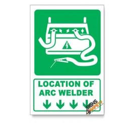 (IN3/D1) Arc Welder Sign, Arrow Down, Descriptive Safety Sign