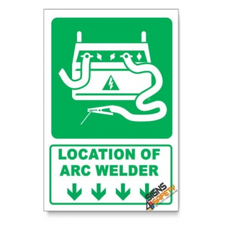 (IN3/D1) Arc Welder Sign, Arrow Down, Descriptive Safety Sign