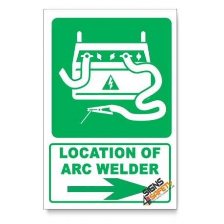 (IN3/D2) Arc Welder Sign, Arrow Right, Descriptive Safety Sign