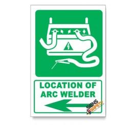 (IN3/D3) Arc Welder Sign, Arrow Left, Descriptive Safety Sign