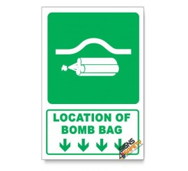 (GA21/D1) Location Of Bomb Bag Sign, Arrow Down, Descriptive Safety Sign