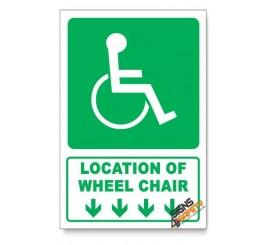 (GA22/D1) Wheel Chair Sign, Arrow Down, Descriptive Safety Sign