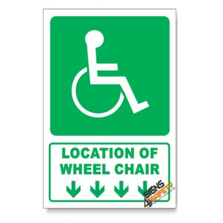 (GA22/D1) Wheel Chair Sign, Arrow Down, Descriptive Safety Sign