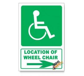 (GA22/D2) Wheel Chair Sign, Arrow Right, Descriptive Safety Sign