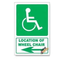 (GA22/D3) Wheel Chair Sign, Arrow Left, Descriptive Safety Sign