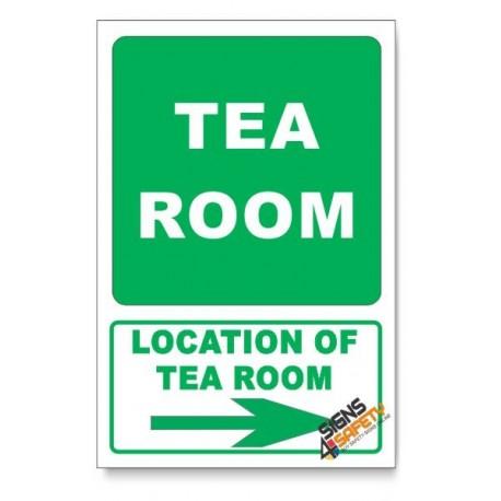 (GA23/D2) Tea Room Sign, Arrow Right, Descriptive Safety Sign