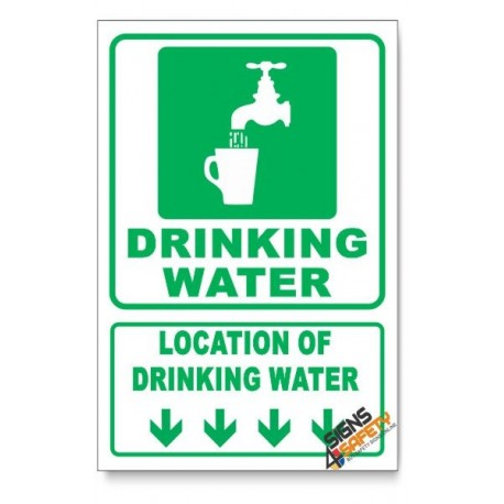 (IN4/D1) Drinking Water Sign, Arrow Down, Descriptive Safety Sign