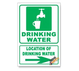 (IN4/D2) Drinking Water Sign, Arrow Right, Descriptive Safety Sign