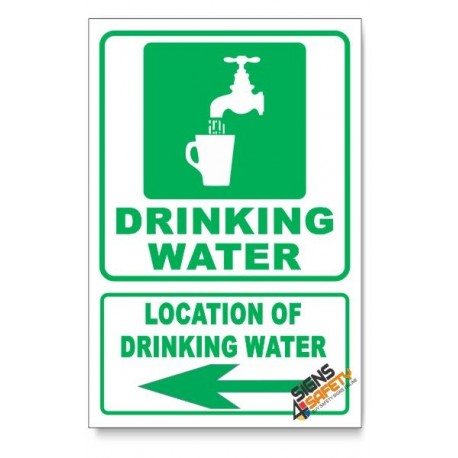 (IN4/D3) Drinking Water Sign, Arrow Left, Descriptive Safety Sign