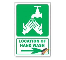 (IN5/D2) Hand Wash Sign, Arrow Right, Descriptive Safety Sign