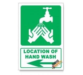(IN5/D3) Hand Wash Sign, Arrow Left, Descriptive Safety Sign