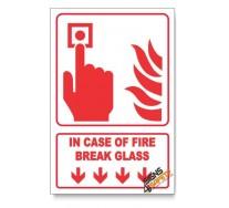 In Case Of Fire Break Glass, Arrow Down, Descriptive Safety Sign