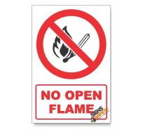 No Open Flame Prohibited Descriptive Safety Sign