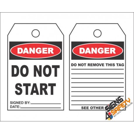 (MST1) Danger Do Not Start Safety Tag (10 Tags Pack)