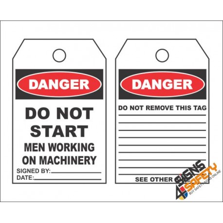 (MST2) Danger Men Working on Machinery Safety Tag (10 Tags / Pack)