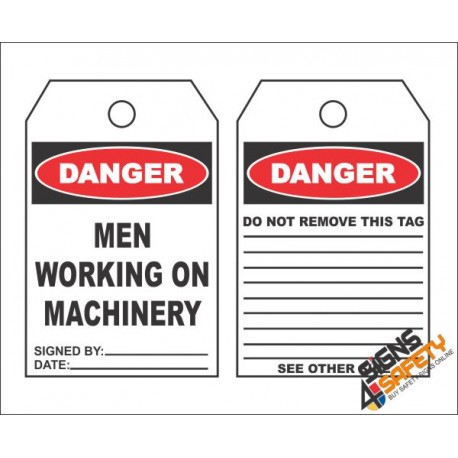 (MST3) Danger Men Working on Machinery Safety Tag (10 Tags / Pack)