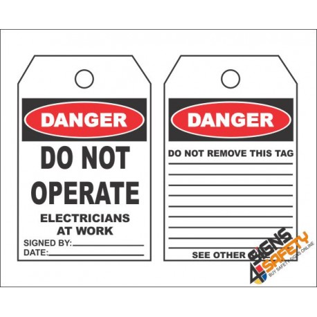 (MST6) Danger Do Not Operate Safety Tag (10 Tags / Pack)