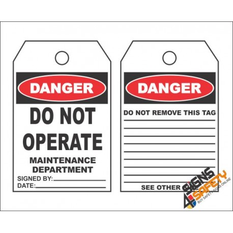 (MST8) Danger Do Not Operate Safety Tag (10 Tags / Pack)
