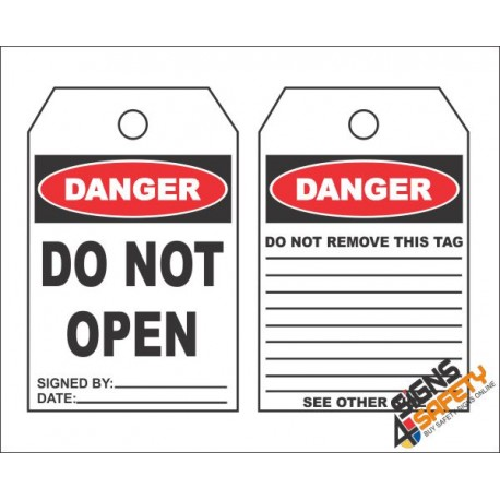 (MST10) Danger Do Not Open Safety Tag (10 Tags / Pack)