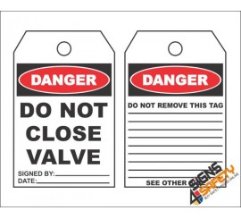 (MST13) Danger Do Not Close Valve Safety Tag (10 Tags / Pack)