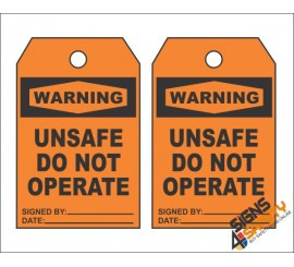 (MST19) Warning Unsafe Do Not Operate Safety Tag (10 Tags / Pack)