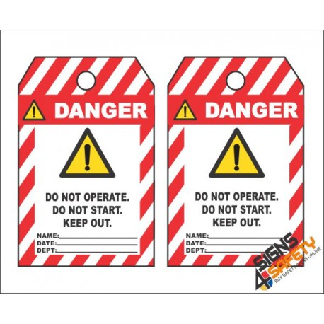 (MST24) Danger Do Not Start Keep Out Safety Tag (10 Tags / Pack)