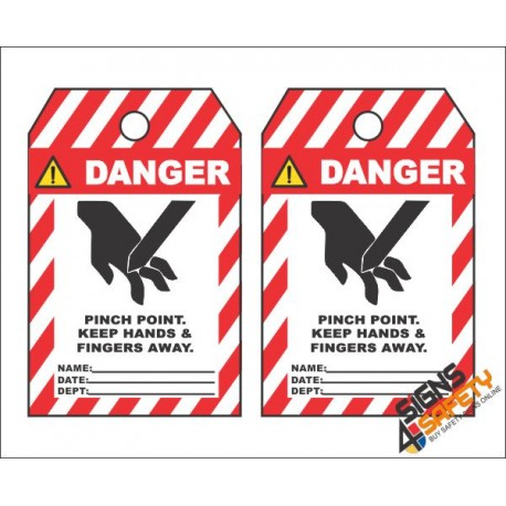 (MST28) Danger Pinch Point Keep Away Safety Tag (10 Tags / Pack)