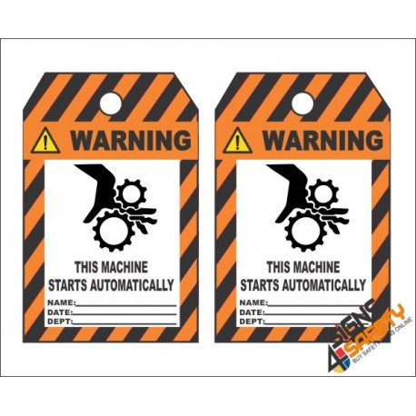 (MST32) Warning Starts Automatically Safety Tag (10 Tags / Pack)