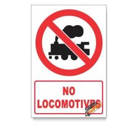 No Locomotives Prohibited Descriptive Safety Sign