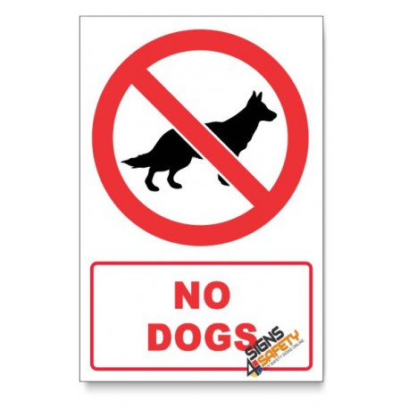 No Dogs Prohibited Descriptive Safety Sign