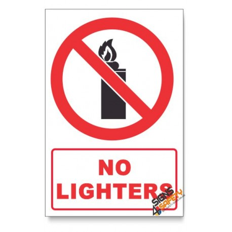 No Lighters Prohibited Descriptive Safety Sign