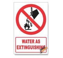Water As Extinguishing Prohibited Descriptive Safety Sign