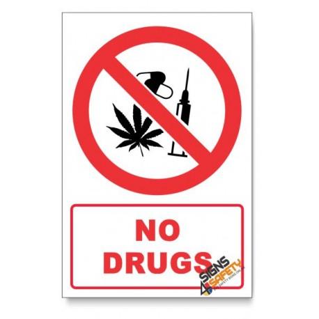 No Drugs Prohibited Descriptive Safety Sign