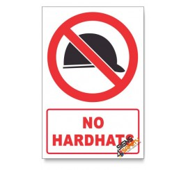 No Hardhats Prohibited Descriptive Safety Sign
