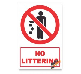 No Littering Prohibited Descriptive Safety Sign