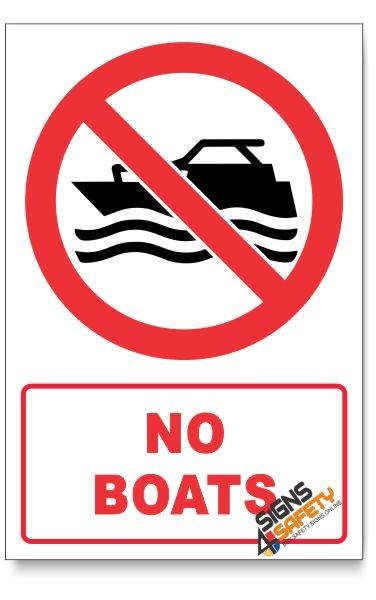 Nosa / SABS No Boats Prohibited Descriptive Safety Sign (PR12/D1) Online  South Africa,