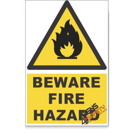 Fire, Beware Hazard Descriptive Safety Sign