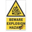 Explosion, Beware Hazard Descriptive Safety Sign