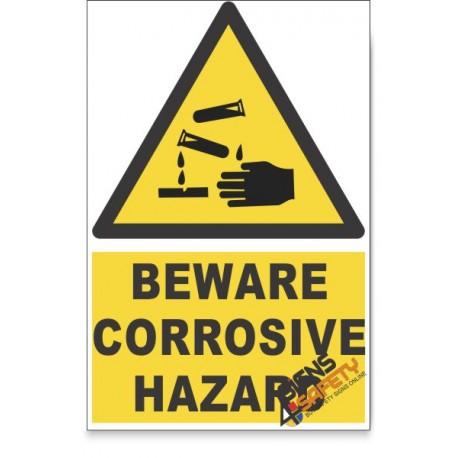 Corrosive, Beware Hazard Descriptive Safety Sign