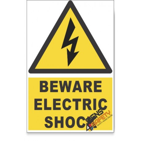 Electric Shock, Beware Hazard Descriptive Safety Sign