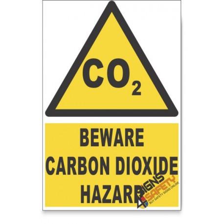 Carbon Dioxide, Beware Hazard Descriptive Safety Sign