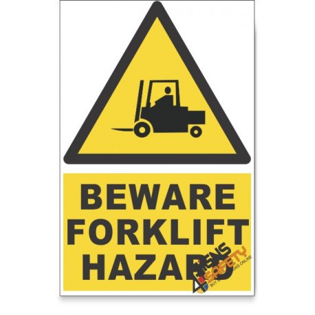 Forklift, Beware Hazard Descriptive Safety Sign