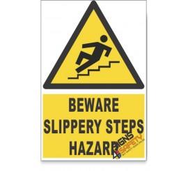 Slippery Steps, Beware Hazard Descriptive Safety Sign