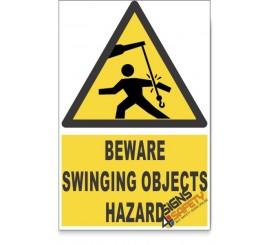 Swinging Objects, Beware Hazard Descriptive Safety Sign