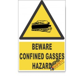 Confined Gasses, Beware Hazard Descriptive Safety Sign
