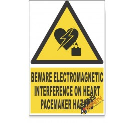 Electromagnetic Interference On Heart Pacemaker, Beware Hazard Descriptive Safety Sign